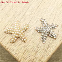 Wholesale Hair Barrette Findings - 50pcs Jewelry Charms Flatback Rhinestone Starfish Barrette Crystal Pearl Wedding Hair Clips Accessories Dress Collar Finding Drilling strass