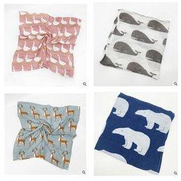 Wholesale Muslin Bibs - Bibs Fox Girls Boys Christmas Swaddles Baby Cotton Muslin Saliva Towels Burps Cloths Bandana Napkin Baby Scarf Gifts 100pcs Free Shipping
