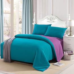 Wholesale Double Set 4pc - Wholesale- Double Size Color Patchwork Solid 4pc Bedding Set Duvet Cover Sets Flat Sheet Pillow Case For Full Queen King Size Set