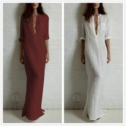 Wholesale Large Long Sexy Casual Dresses - Large Size Woman Casual Long Dress 2017 Autumn Woman Fashion Solid Color Loose Sexy Deep V Neck Three Quarters Sleeve Linen Dress