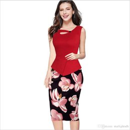 Wholesale Wholesale Work Dresses - Printed Sleeveless Pencil Dress European Style Fake Two Pieces Of Business Dress Hot Print Stitching Dress ouc220