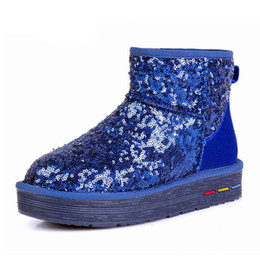Wholesale Models Fur Snow - Thick sole leather snow boots ladies explosion models of short tube leisure shoes warm sequins. XDX-027