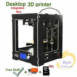 Wholesale Printers Print Card - 2017 New Upgrade desktop 3D Printer Integraded Box Size Big print size Aluminum Frame LCD 16G TF Card for gift Optional Filament