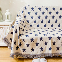 Wholesale Side Table Cover - Double sides use blue stars cotton blanket,130*160cm durable wearable comforter, red stars sofa cover, pet blankets ,table cloth