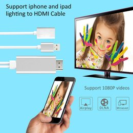 Wholesale Hdmi Hdtv Iphone - i7 lightning USB to HDMI cable adapter 1080P HDTV AV Adapter Connector compatible with IOS8~10 system for iPhone 7 7Plus 6 6s Plus iPad