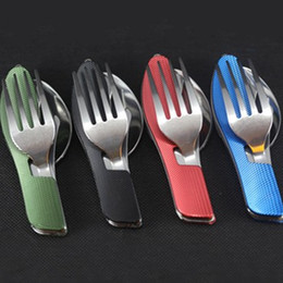 Wholesale camping knife fork spoon - Stainless Steel Camping Dinnerware Multi Function Foldable Tableware Knife Fork Spoon Dishware Popular Factory Direct Sale 5 7hh B