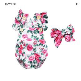 Wholesale Winter Birthday Outfits Baby Girls - Summer Baby Girl Kid Floral Set Clothes 1st Birthday Outfits Newborn Sleeveless Romper Bodysuit+Bow Headband 2PCS Tracksuit Infant Suit