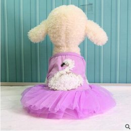 Wholesale Cheap Dog Wedding Dresses - Pet Dress 2017 Summer Swan Dress Dog Clothes Skirt Cute Princess Wedding Clothing Dog Puppy Small Dog Clothes Cheap Pet Apparel XS-XXL 75