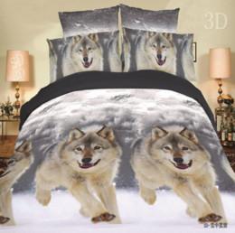 Wholesale Wolf Bedding Sets Twin - Wholesale- New Design Bedding Set 3D Wolf Animal bedding set queen size Bedclothes 4pcs bedding set Duvet cover+Flat sheet+2 Pillow case