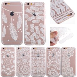 Wholesale 5c Phone Covers - Case For iPhone 6 6S Plus 5 5S SE 5C 6Plus 7 Transparent Cases White Floral Paisley Flower Mandala Silicone Soft Phone Cover