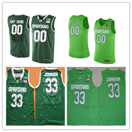 Wholesale Apple Basketball - Custom Mens Michigan State Spartans College Basketball Apple Green 23 33 45 Personalized Stitched Any Name Any Number Jerseys S-3XL