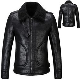 Wholesale Force Leather Jacket - Fur Leather Air Force Jacket Vintage Effect Fleece Inside Thick Warm Fall Winter Motorcycle Jackets Slim Fit Leather Outerwear