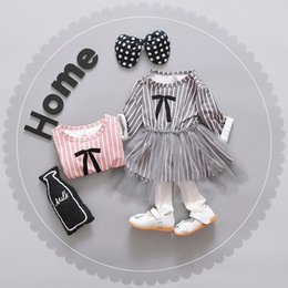 Wholesale Girls Stripe Long Dress - Girls dresses kids stripe bows printed long sleeve dress children splicing tulle knee length princess dress girl autumn clothing T4124
