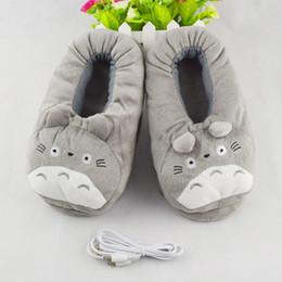 Wholesale Kawaii Cartoon Slippers - Wholesale-2016 Winter New USB Heating Pantufa Women Home Slippers Cotton Fabric Cartoon Kawaii Totoro Minion House Slippers Spa Slippers