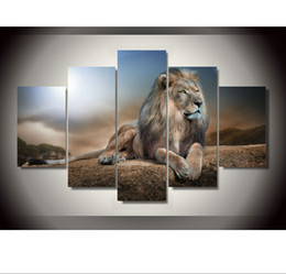 Wholesale Group Oil Paintings - New Arrival Rushed Oil Painting Fallout NO Frame Animals for Lion Group Children's Room Decor Print Picture Canvas