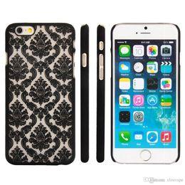 Wholesale Pink Lace Iphone Case - Lace flower phone case for iPhone 8 7Plus 6 7 Plus pearl rise pattern baroque retro hard Plastic Slim Fit Matte Clear Case