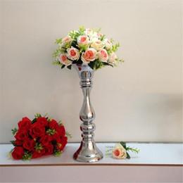2019 вазы для стола Новое прибытие высота 48 см серебряный цветок ВАЗа дорога привести свадебный стол центральные украшения событие праздничные атрибуты скидка вазы для стола
