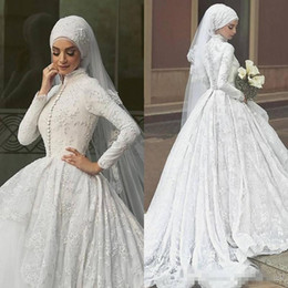Wholesale Muslim Bride Models - White Lace Arabic Wedding Dresses 2017 Long Sleeves Ball Gown Bridal Gowns White Lace Appliques Tulle Floor Length Muslim Dress For Brides