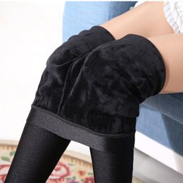 Wholesale Leggings Knitted - Women Winter Warm Leggings Velvet Leggings Shiny Legging
