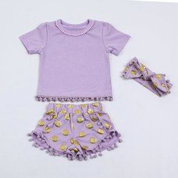 Wholesale Boutique Organic Cotton Baby boy girls Clothes pom pom tops short sequin set matching headband Made In China Yiwu Market