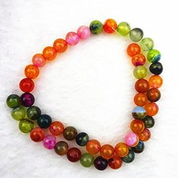 Wholesale Vein Agate Beads - YZ102 8mm Beautiful colorful Dragon Veins Agate Ball Loose Bead 15.5 inch