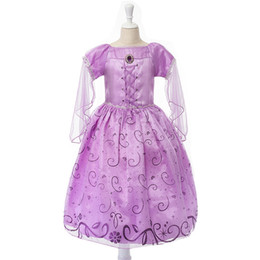 Wholesale Petal Dresses - Exclusive dress Children role play Tangled dresses purple Rapunzel costume Halloween party Cosplay dress baby girls free shipping