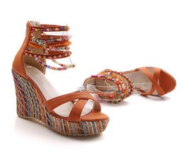 Wholesale Hot Pink Platform Sandals - Hot Sale New Fashion Summer Bohemian Elegant Platform Shoes Woman Beading Wedges Sandals Casual Women Shoes