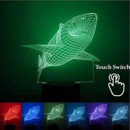Wholesale Shark Night Lights - Wholesale- Marvel Shark 1.5W 7 Colors Changing 3D Led Lamp USB Nightligs Lampara as Home Decor Baby Sleeping Night Light Lava Lamp