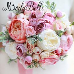 Wholesale Hand Bouquet Rose Pink - Pink Bridal Bouquets Roses Camellia Gelin Buketleri Wedding Boutonniere Groom Wrist Corsage Bracelets Bridesmaid Hand Flowers