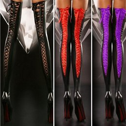 Wholesale Shiny Suits Sale - 2017 hot sale lace-up fashion stretch Faux Leather Thigh High Stockings Over The Knee sexy stockings for women Sexy Club Costume
