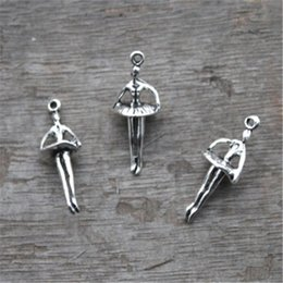 Wholesale Ballerina Charms - 20pcs--Ballerina Charms, Antique Tibetan Silver Mini 3D Ballet Dancing Girl Charm Pendants 25x10mm