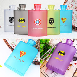 Wholesale Plastic Frosted Cups - 2017 Frosted Jug Cup American Captain Superman Spiderman Creative Bottle Hip Flasks Outdoor Travel Plastic Mugs 6 Color XL-G149
