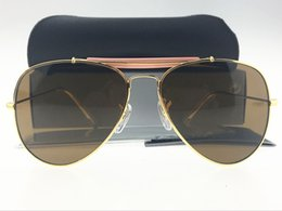 Wholesale Yellow Lens Sunglasses For Women - 2017 Designer Pilot Sunglasses For Mens Womens Outdoorsman Sun Glasses Eyewear Gold Black Lens 62mm Glass Lenses With Packagings