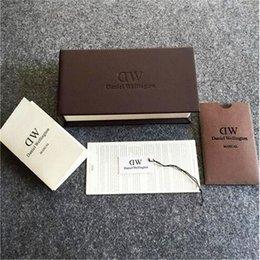 Wholesale Round Package - Luxury Brand DW Watch Box Original Leather Watch Boxes Package With Manual And Tag DW Watch Cases Gift Packing