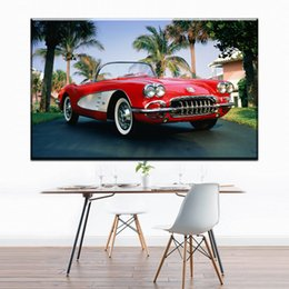 Wholesale Red Tree Wall Art - ZZ1307 modern decorative canvas art red sports car coconut tree landscape canvas pictures oil art painting for livingroom wall