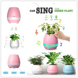 Wholesale Bt Hifi Speaker - Bluetooth Speaker with LED BT Intelligent Smart Touch Music Flowerpot Plant Piano Playing K3 Wireless Singing Flowerpot without flower