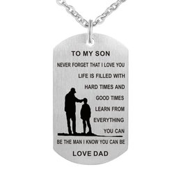 Wholesale Military Chain - Dad To My Son Dog Tag Necklace - Never Forget I Love You - Personalized Custom Military Dog Tags Pendant Gift