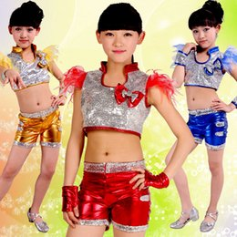 Wholesale Stage Dresses Sale - 2017 new Hot sale 2pcs Jazz Dance bling bling Neutral Stage Dress Shiny Vest Shorts Kids Set Performance Clothing