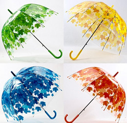 Wholesale Transparent Hot Tube - Free shipping new Hot Transparent Thicken PVC Mushroom Green Leaves Rain Clear Leaf Bubble Umbrella LLFA