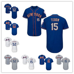 Wholesale Authentic Jersey 52 - Stitched 15 Tim Tebow Baseball Jerseys Authentic 52 Yoenis Cespedes MLB New York Mets Jersey Flexbase Collection White Gray Royal Blue Hot