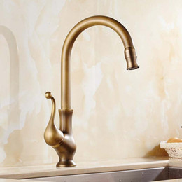 Wholesale Bronze Shower Faucets - New Designed Deck Mounted Antique Brass Kitchen Faucet With Cold and Hot Water supply  Other Faucets Showers & Accs free shipping