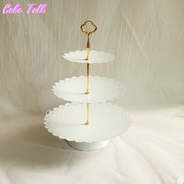 Wholesale Cake Tiers - Wholesale- Classical 3 tiers cupcake stand wedding dessert tray home decor cake Accessory bakeware dinnerware Event & Party Supplies