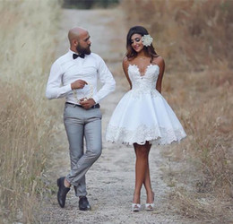 Wholesale Mini Lace Tiered Short Skirts - Sexy vintage Beach country Short Wedding Dresses 2017 Sweetheart Neck Appliques Satin Robe de mariee mini garden Bride Dresses