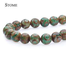 Wholesale Dzi Beads Eye - Natural stone Green Eye Dzi beads A+ Round Loose Beads Gemstone 8-12MM For Jewelry Making S-030 Stome