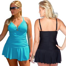 Wholesale Sexy Swim Wear One Piece - Plus size women fashion swim dress beachwear,sexy strap swimwear,two colours of five size women beach and swim wear