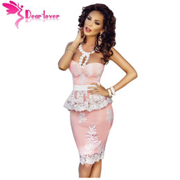 Wholesale Nude Rhinestone Mini Dress - 2017 Roupas Femininas Elegant Party Dresses Floral Lace Crochet Nude Illusion Pink Peplum cocktail prom Dress Vestidos de Festa