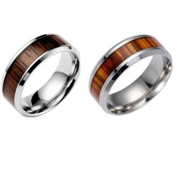 Wholesale Titanium Wood Ring Wholesale - Mens Womens Titanium Steel PolishedWedding Ring With Set Teak Engagement Band Rings 2 Colour Select USA Size (From 6 # To 13 #)
