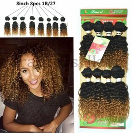 Wholesale Kinky Curly Synthetic Weave - 8pcs lot unprocessed virgin afro kinky curly hair brazilian hair weave bundles short ombre hair human weave jerry curly hairs bundles uk