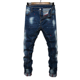 Wholesale Preppy Clothes Men - Wholesale- 2017 new Spring Autumn thick jeans men brand clothing male blue denim pants top quality casual colorful dot denim trousers