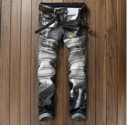 Wholesale Jeans Vaqueros Hombre - 2017 Top Famous Distressed patches Biker Cargo Jeans Main Designer Rivets Embroidery Patchworks Men's pants Demin Trousers Vaqueros Hombre